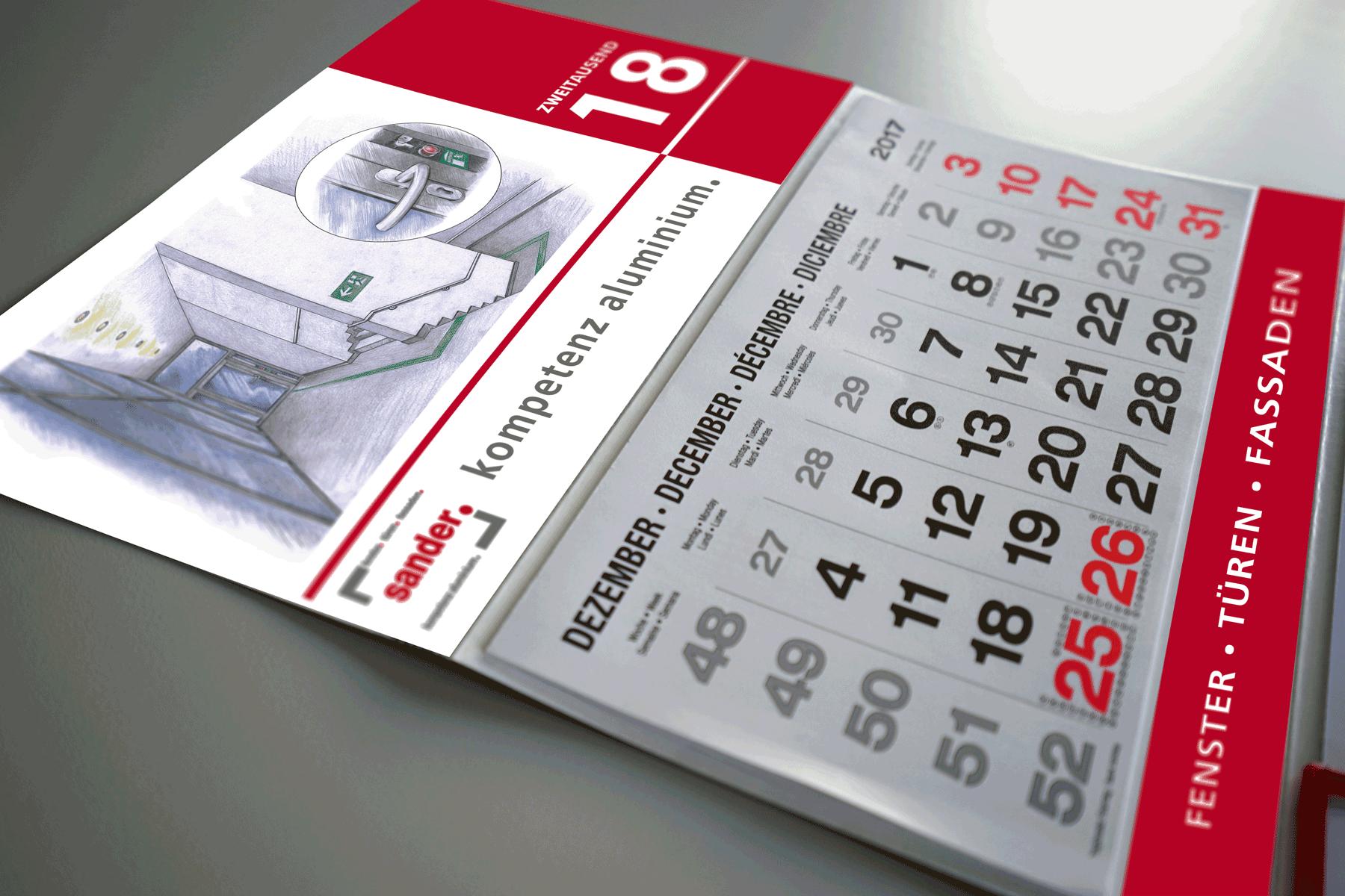 Abbildung von 3-Monatskalender unseres Kunden sander