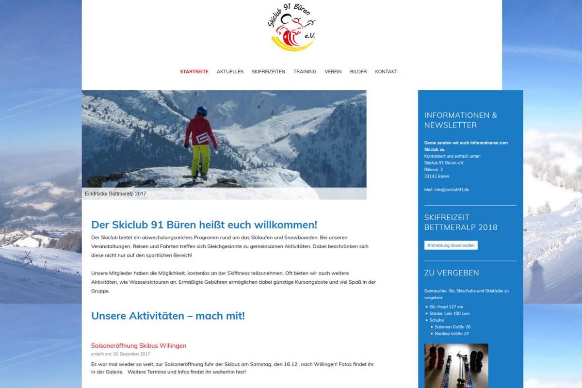 neue Webseite für skiclub Büren