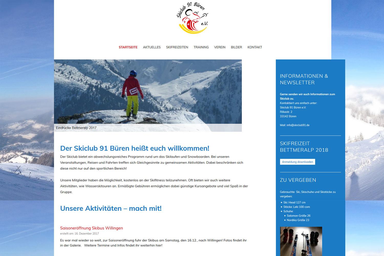 Foto von Webseite vom Skiclub Büren